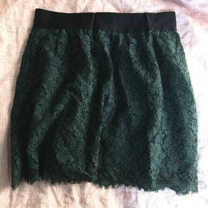 J. Crew Skirts - J. Crew Dark Green Lace Mini-Skirt